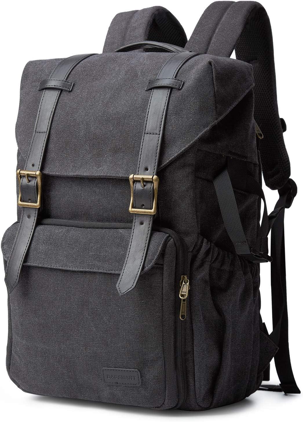"Camera Backpack, BAGSMART Camera Bag Anti-Theft DSLR SLR Canvas Backpack Fit up to 15"" Laptop with Rain Cover, Tripod Holder for Women and Men (Black-Large)"