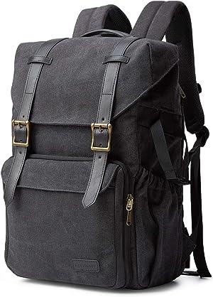 Camera Backpack, BAGSMART Camera Bag Anti-Theft DSLR SLR Canvas Backpack Fit up to 15