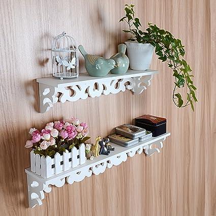 Yosoo Estanterías de madera blanca elegante lamentable de filigrana ...