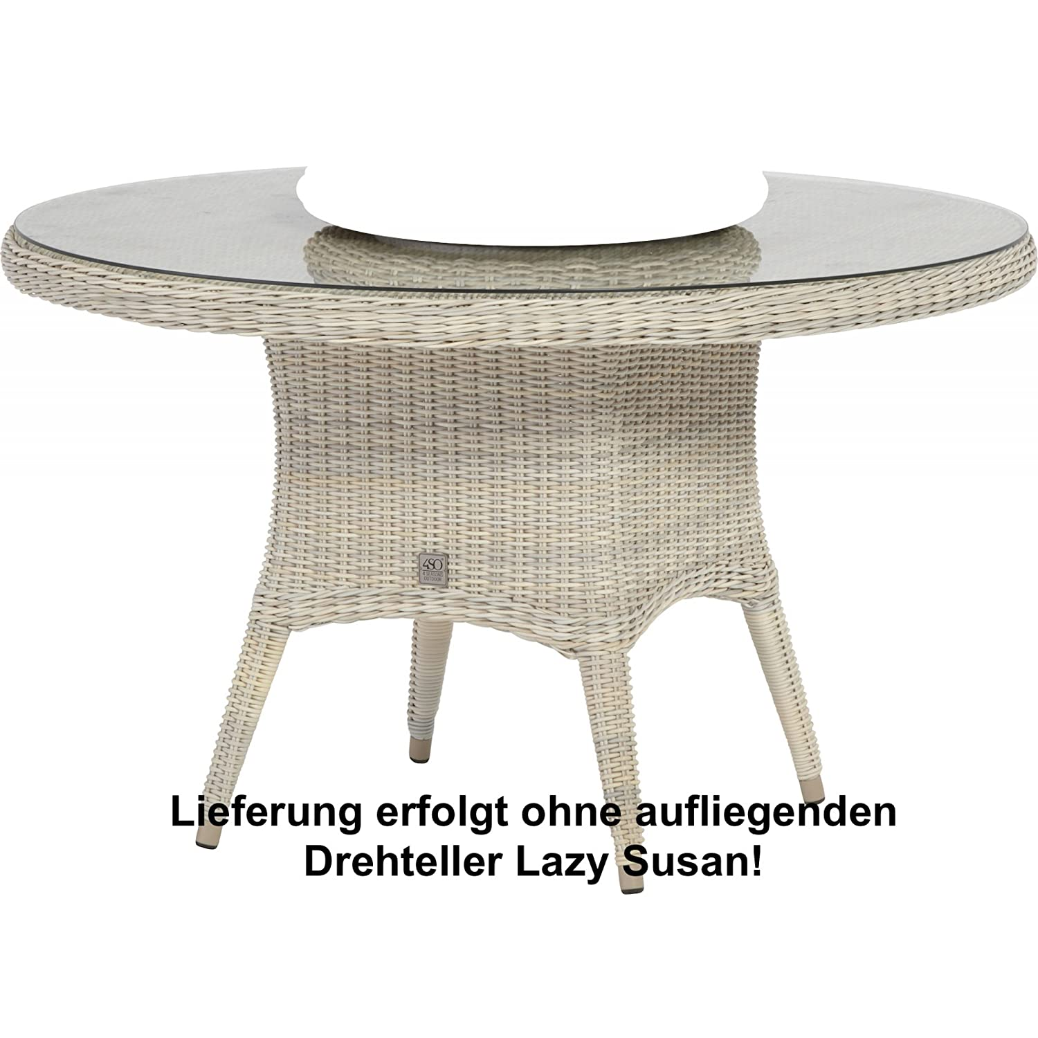 4Seasons Outdoor Victoria dining Tisch ø 130 cm inkl. Glasplatte Provance wicker