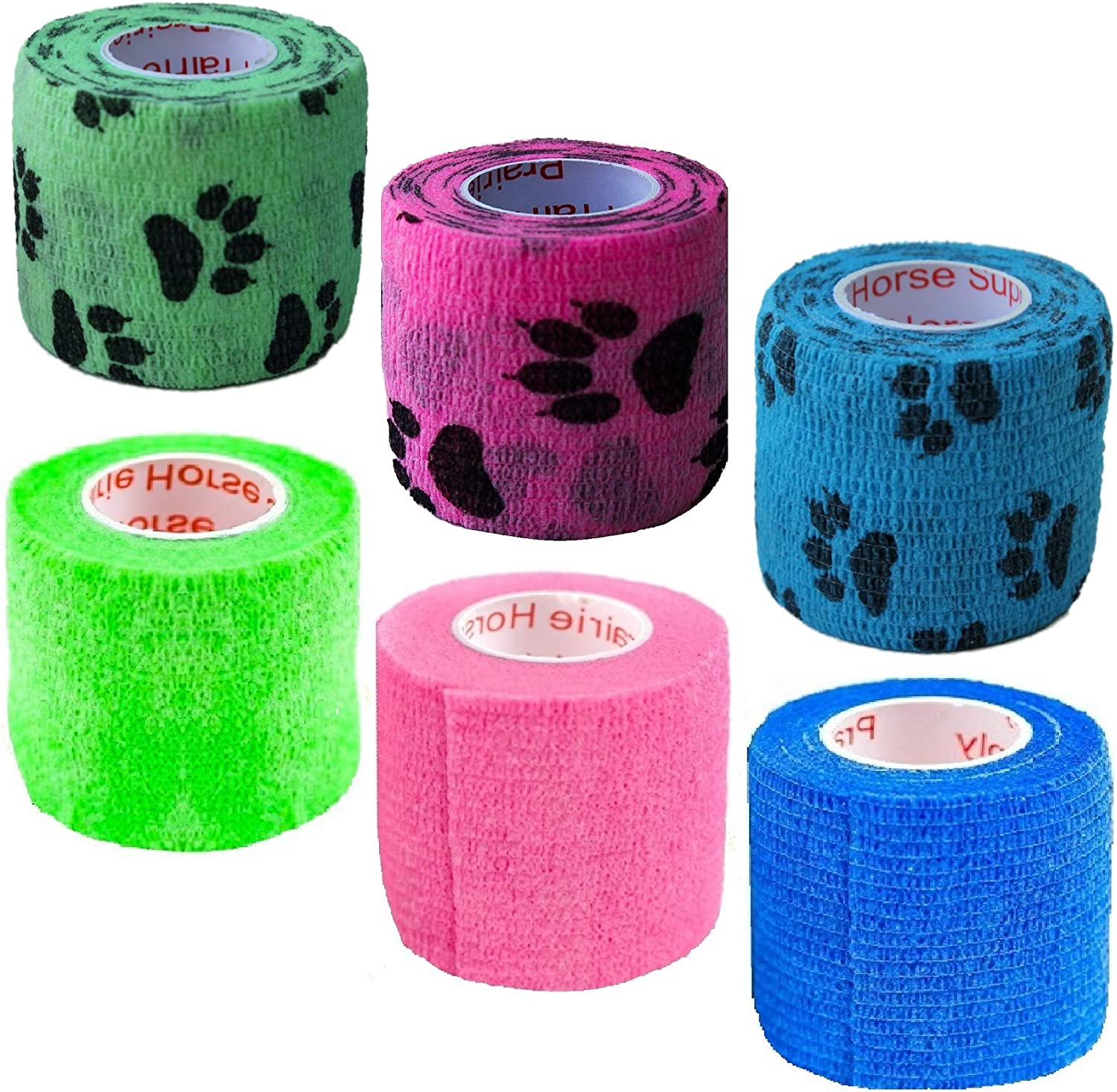 2 Inch Vet Wrap Tape Bulk (Assorted Colors) (6, 12, 18, or 24 Packs) Self-Adhesive Self Adherent Adhering Flex Bandage Rap Grip Roll for Dog Cat Pet Horse 81w0bbXqEJL