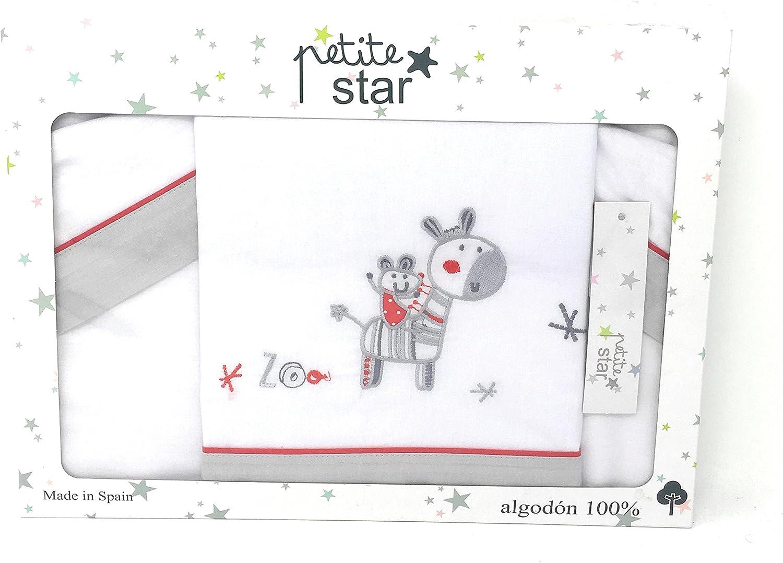 color blanco y gris dise/ño zebra 100/% algod/ón Petite stars 00322620 S/ábanas