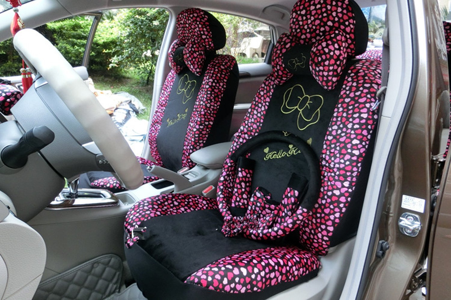 Black/Peach Bow Front Rear Car Seat Cushion Cover Black&Gold 18pcs Full Set Needlework by GH8 (Image #1)