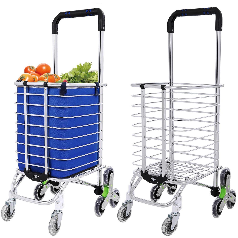Simlive - Carrello pieghevole per la spesa con tre ruote per salire le scale, leggero, con borsa rimovibile, per portare il bucato o la spesa, utile al mercato, può salire e scendere le scale Blue-2
