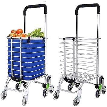Simlive - Carrito de la compra plegable de tres ruedas con bolsa impermeable extraíble para la