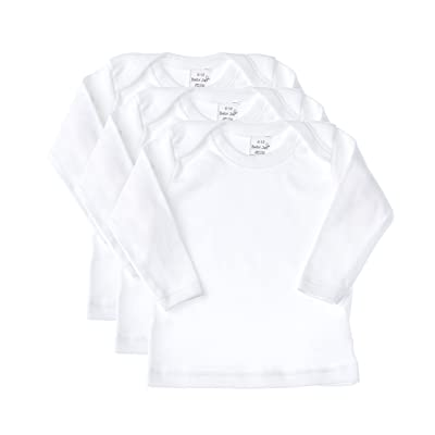 Baby Jay Long Sleeve Undershirt 3 Pack -White Cotton Baby T Shirt, Lap Shoulder