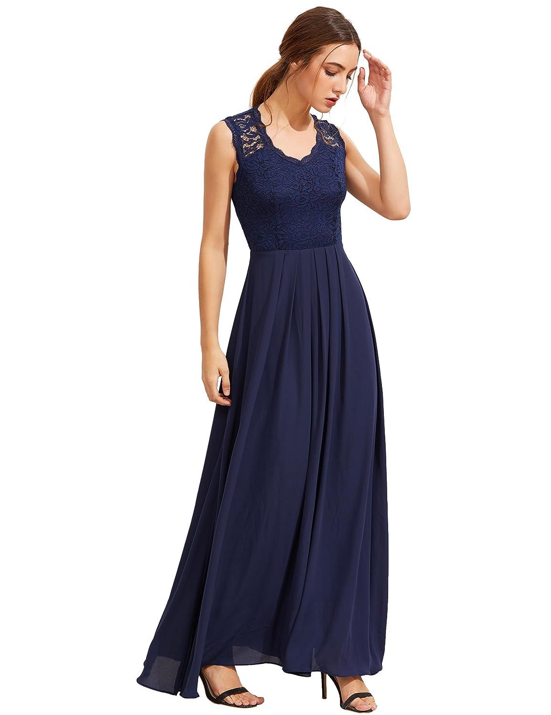 Shein - Vestido - Trapecio - Sin Mangas - para Mujer Azul Azul Marino Large: Amazon.es: Ropa y accesorios