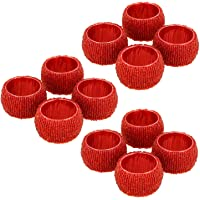 Prisha India Craft ® Beaded Napkin Rings Set of 12 red Decorations Christmas Ornaments, Perfect for Dinners, Parties, Weddings - Artisan Crafted in India - GIFT ITEM