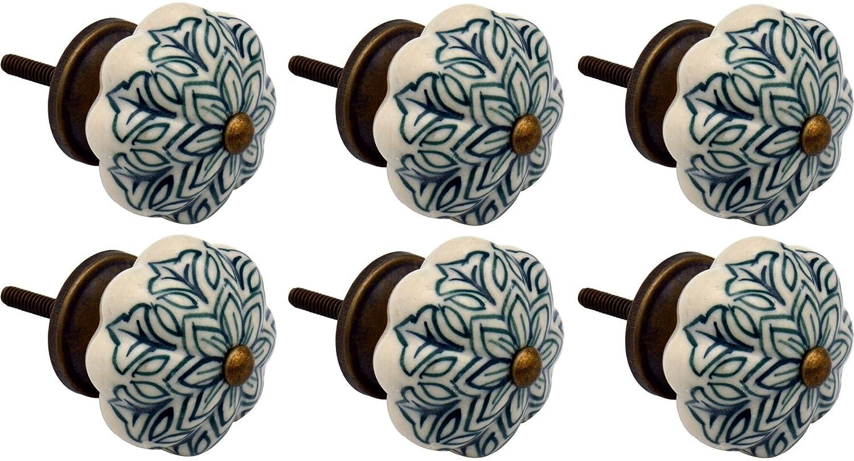 Poignées en céramique - pour placard/tiroir - style floral vintage - vert foncé - lot de 6 Nicola Spring