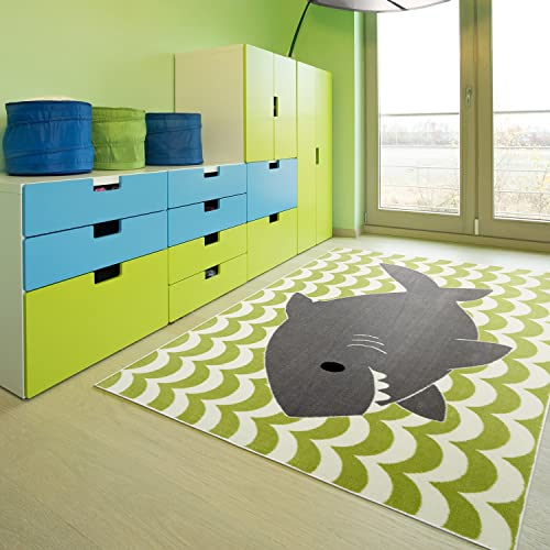 Mohawk Home Aurora Smiling Shark Striped Waves Nautical Printed Contemporary Kids Area Rug