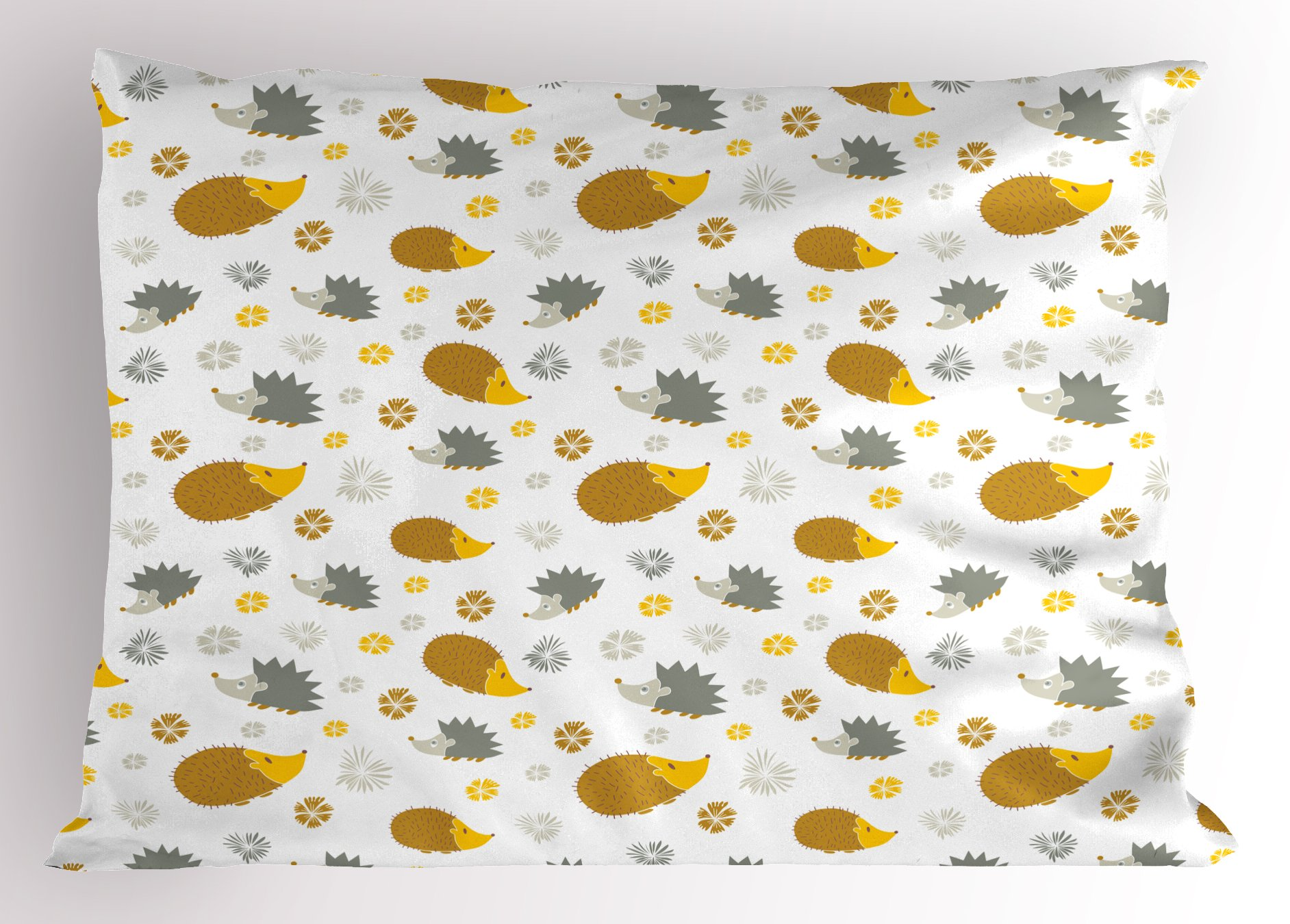 Ambesonne Hedgehog Pillow Sham, Autumn in Woods Theme Different Wildlife Mascots with Little Flowers, Decorative Standard Size Printed Pillowcase, 26 X 20 inches, Earth Yellow and Grey