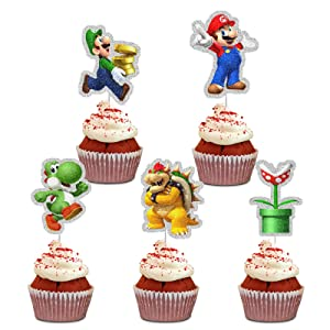Super Mario Brothers Cupcake Topoper Picks,25pcs Cartoon Video Gaming Characters Super Mario Happy Birthday Party Decorations for Kids Birthday Party Baby Shower