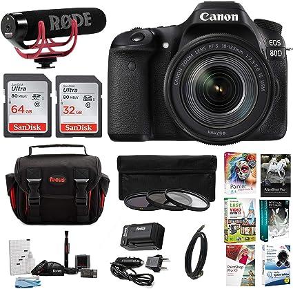Canon EOS 80d Kit Creador de vídeo w/18 – 135 mm Lente, Software y ...