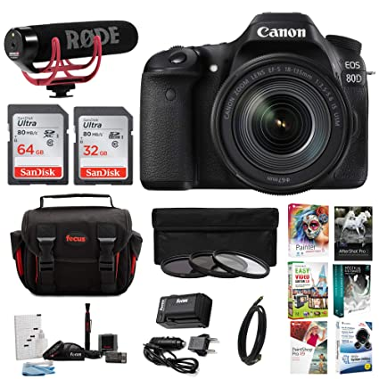 Canon EOS 80d Kit Creador de vídeo w/18 - 135 mm Lente, Software y ...