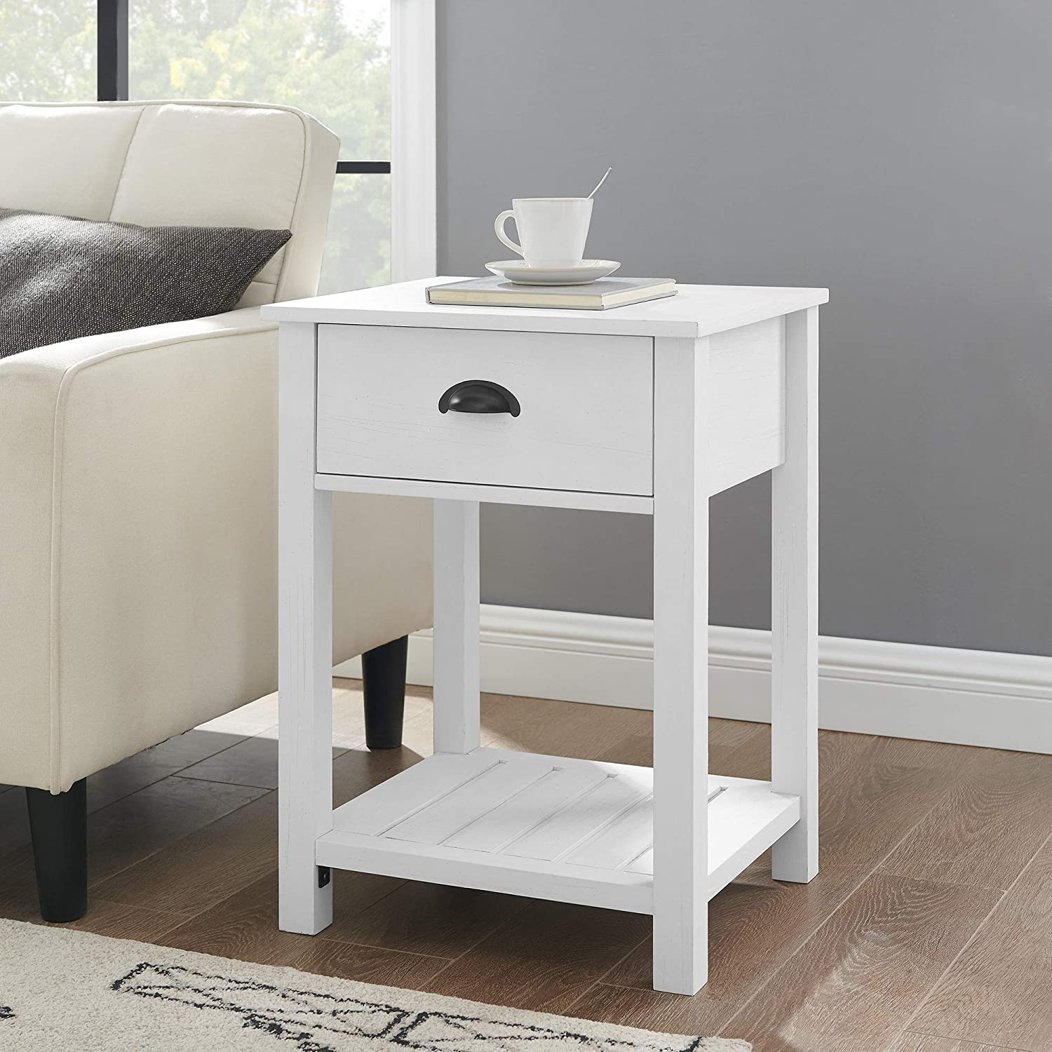 Amazon Com Walker Edison Farmhouse Square Side Accent Table Set Living Room Storage End Table With Storage Door Nightstand Bedroom 18 Inch Brushed White Furniture Decor