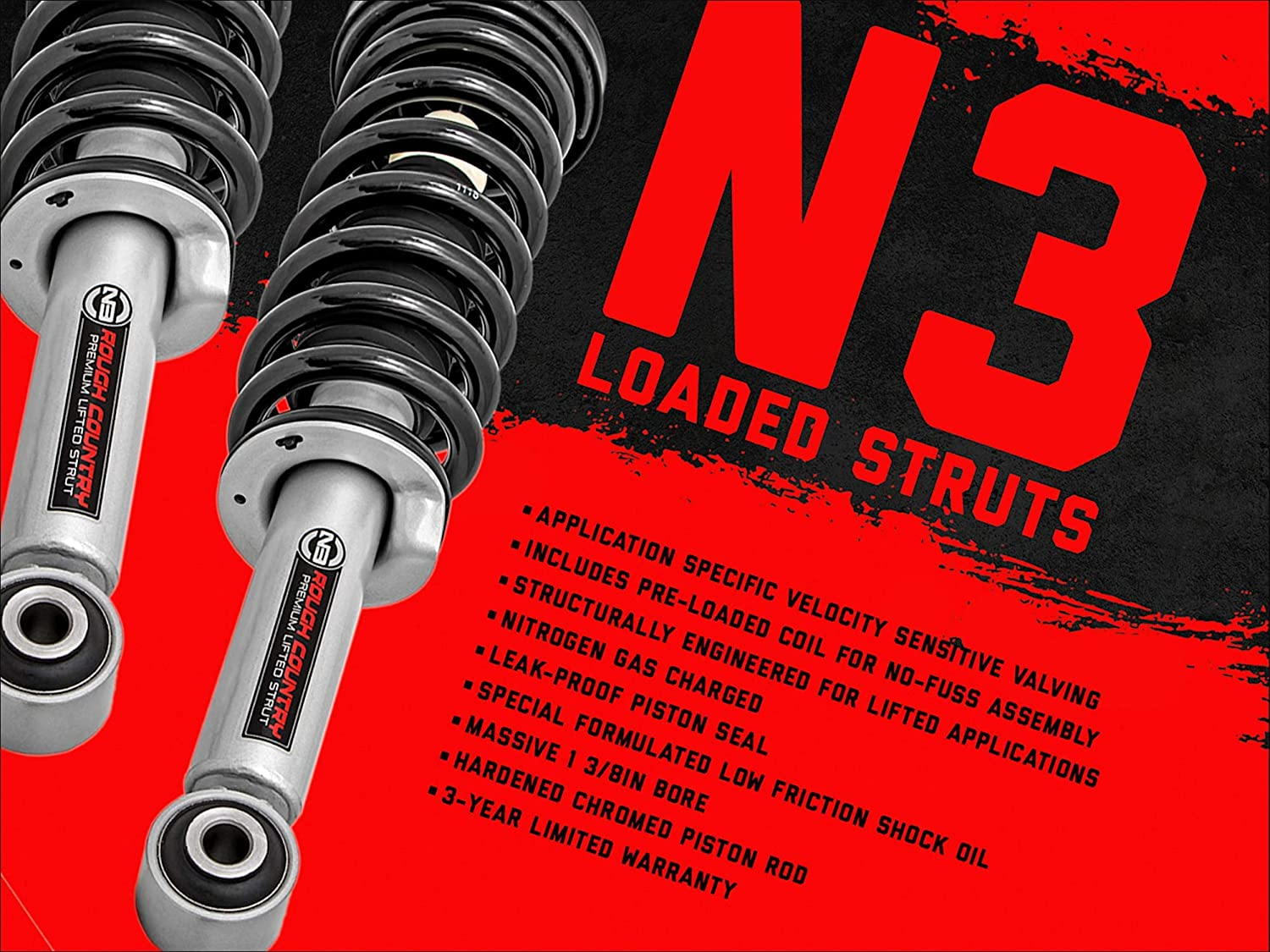Rough Country 2 N3 Loaded Struts 2014-2020 F150 4WD fits 500068 Lifted Coil Spring Struts