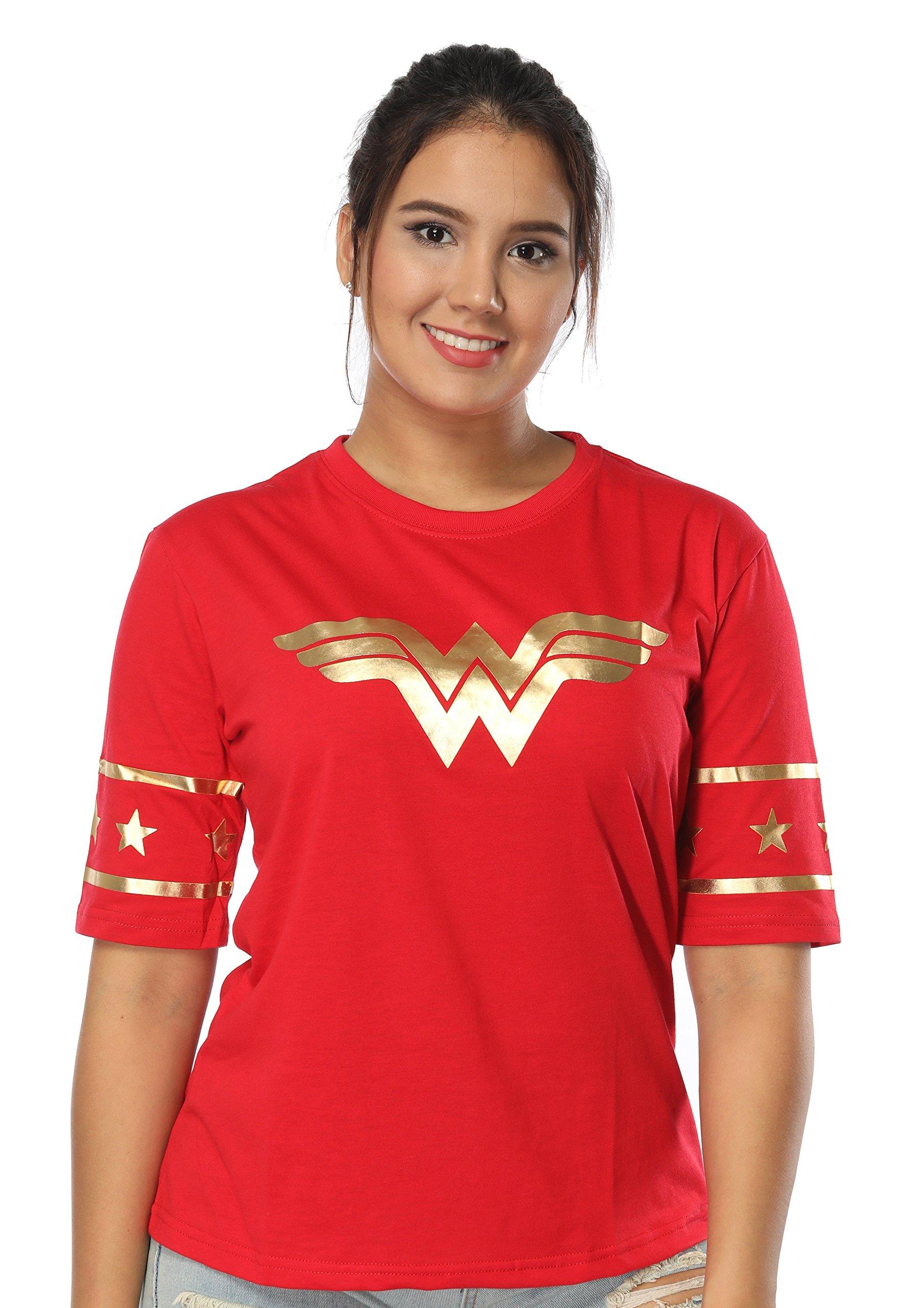 Justice League Wonder Women Golden Foil T-Shirt – Short Sleeved Women Wear (XL, Red)