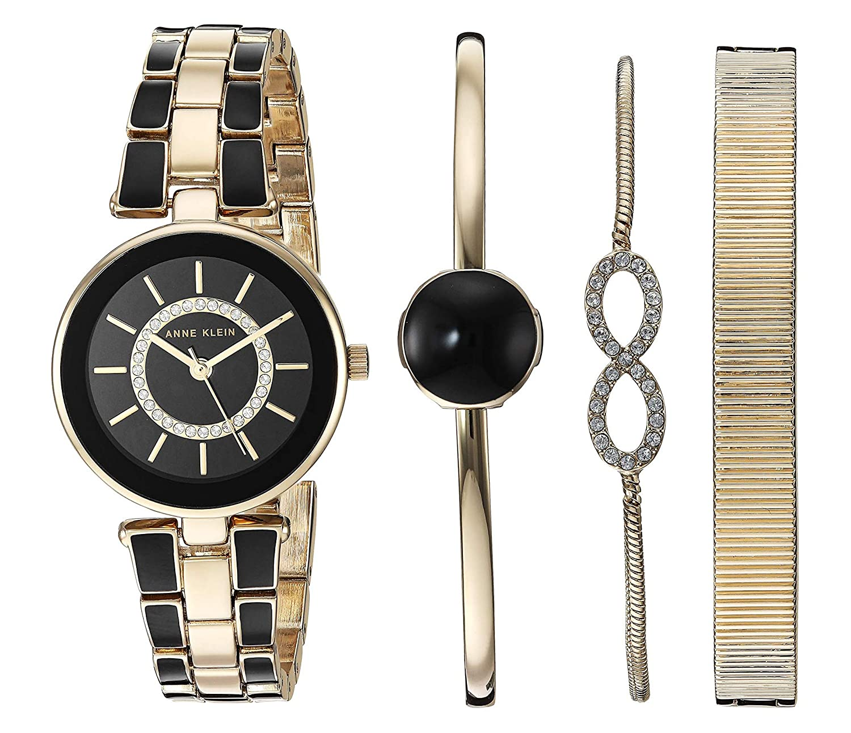 Amazon.com  Anne Klein Women s AK 3286BKST Swarovski Crystal Accented  Gold-Tone and Black Watch and Bracelet Set  Watches 9585bbfc7b