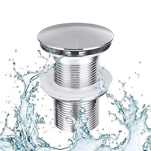 Premium lavabo desag/üe con rebosadero para lavabo /& lavabo V/álvula de desag/üe universal de lat/ón Instalaci/ón con instrucciones sin herramientas V/álvula de cromo Pop Up