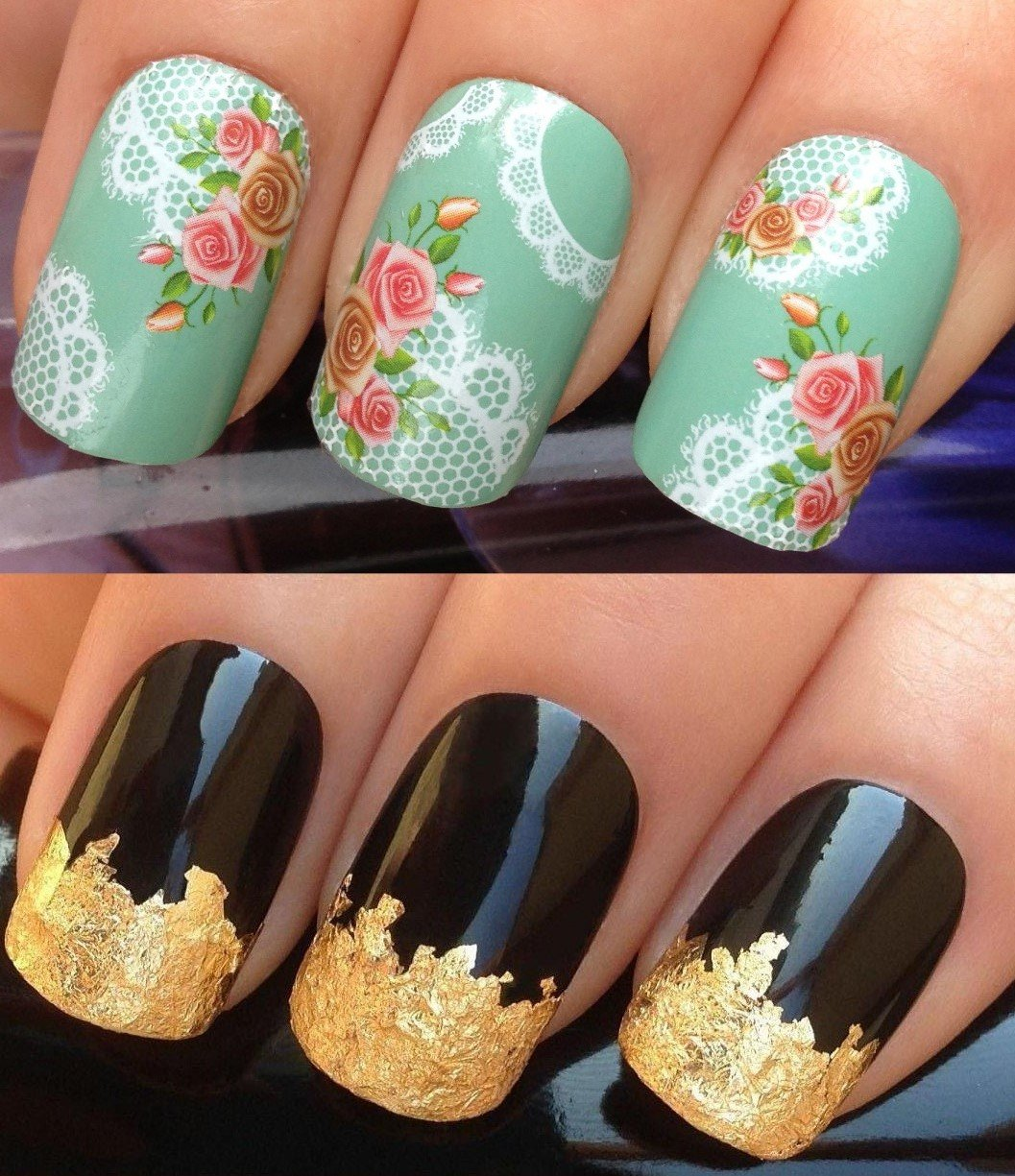 Nail decals water transfers stickers art set 181 plus gold leaf nail decals water transfers stickers art set 181 plus gold leaf sheet for custom designed nail white honeycomb scallop edged fine lace mesh english prinsesfo Images