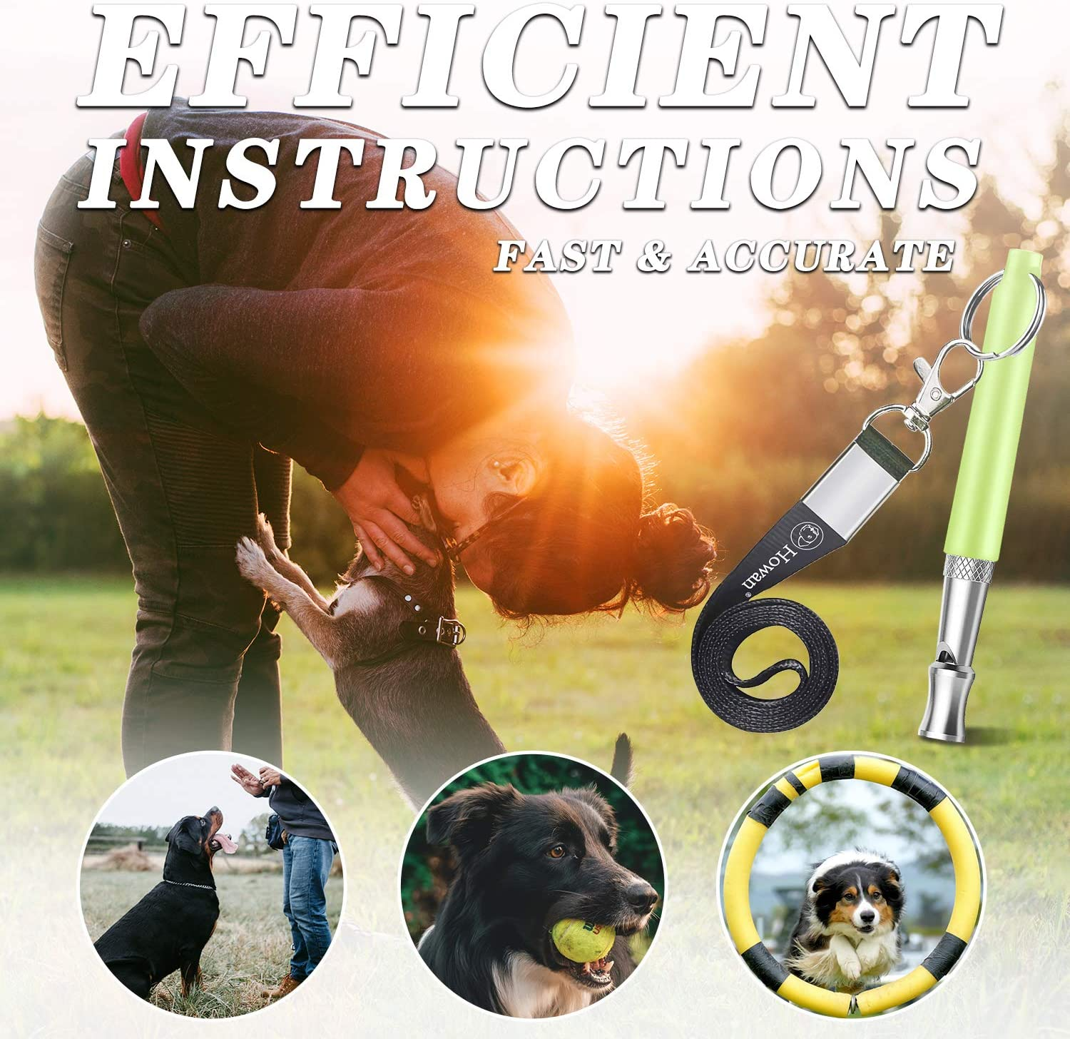 Howan Dog Training Whistle Professional Dogs Whistles- Adjustable Pitch for Stop Barking Recall Training Tool Green Include Free Black Strap Lanyard