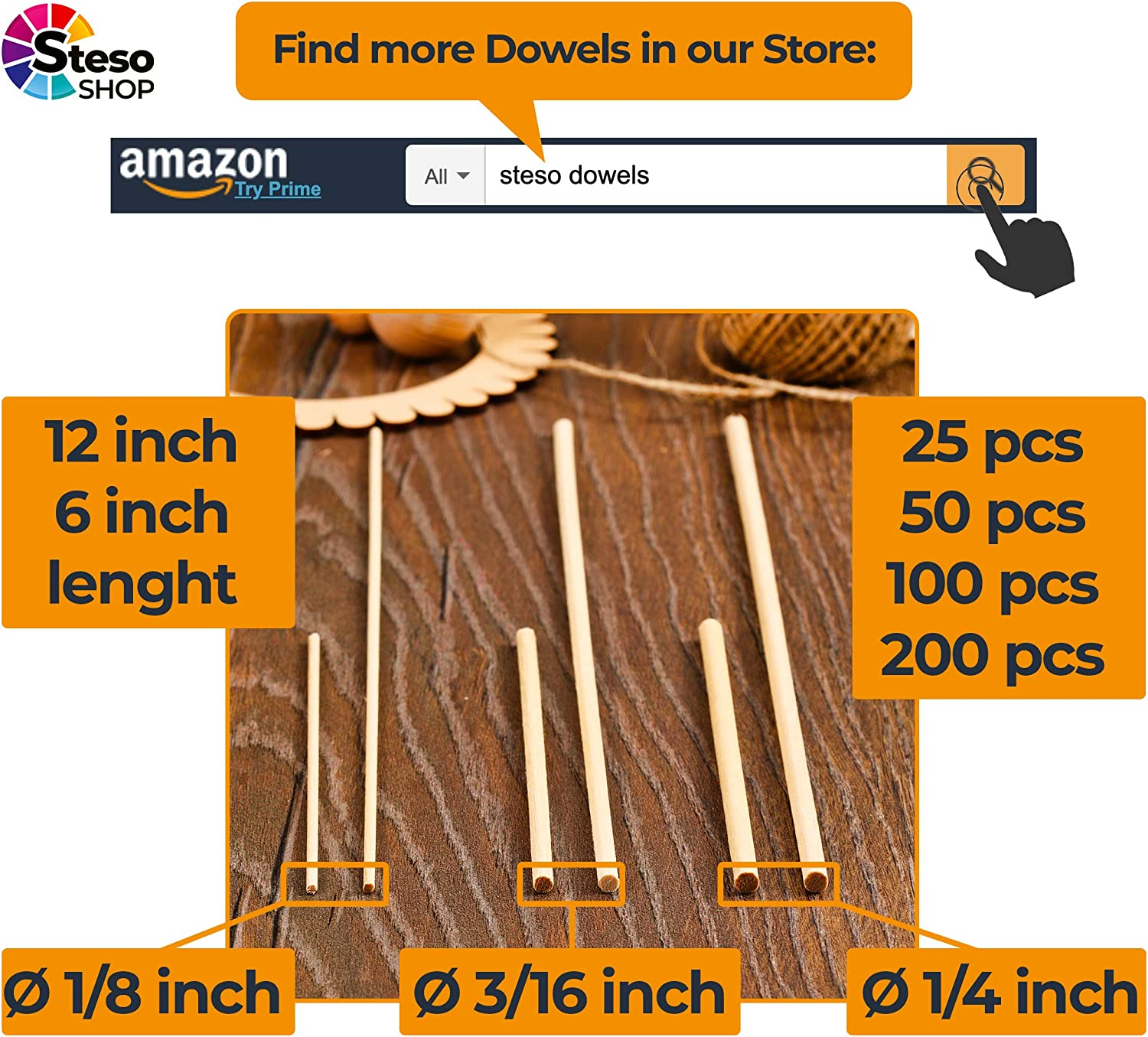 Best Price 30cm-3mm/Ø 50 pcs Wood Dowels for Crafts Unfinished Natural Wood Dowels for Wedding Ribbon Wands Wooden Dowel Rods Thin 12 inches -1//8 Dowels -