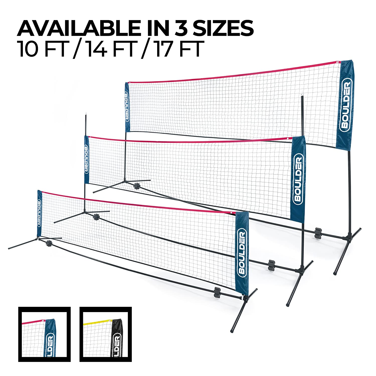 Boulder Portable Badminton Net Set Net for Tennis Soccer Tennis Pickleball Kids Volleyball Easy Setup Nylon Sports Net with Poles for Indoor or Outdoor Court Beach Driveway
