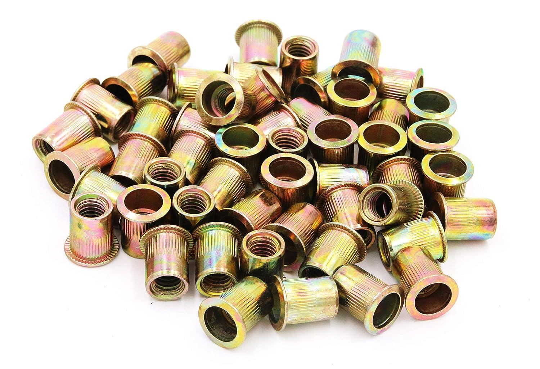 Zinc Plated Carbon Steel Rivet Nut Flat Head Insert Nutsert Pack of 50 3 8 16