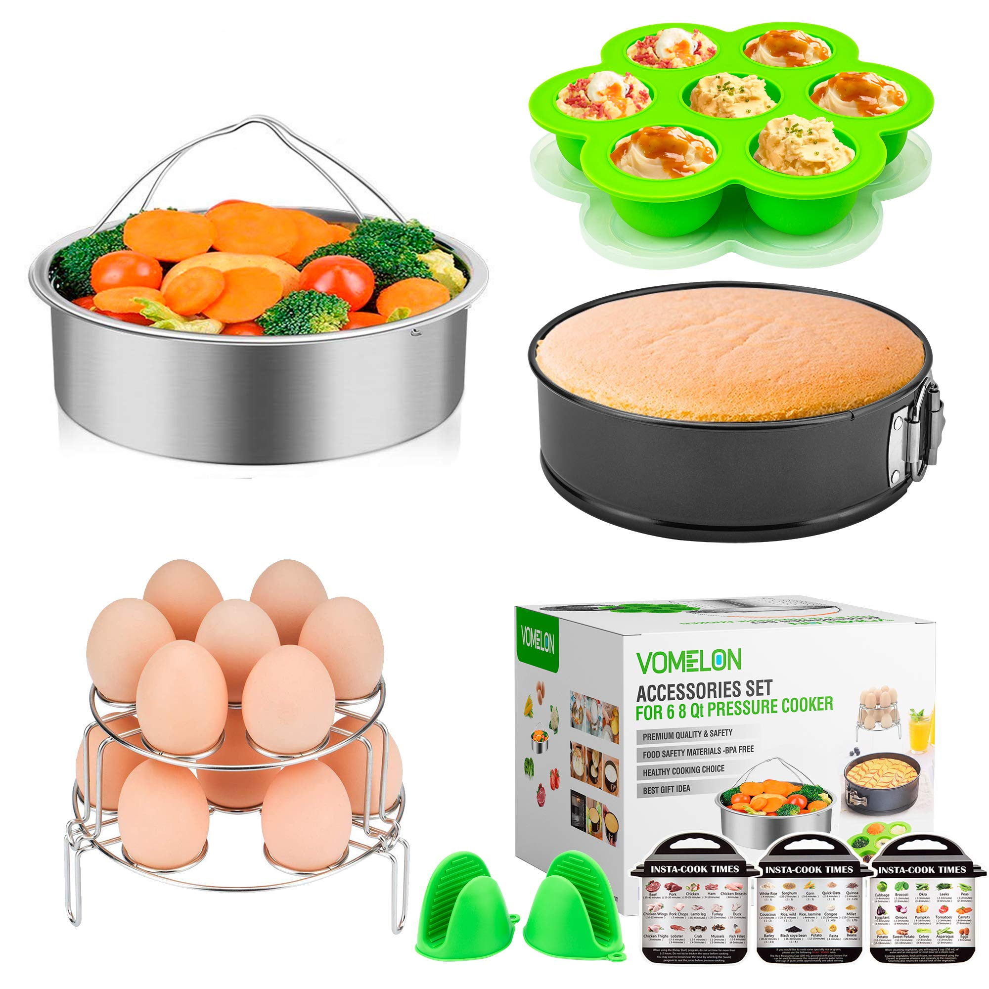 Cooking Accessories Compatible with Instant Pot 6,8 Qt, 10-Piece Steamer Basket, Egg Bites Mold,7'' Springfrom Pan,Egg Steamer Racks,Magnetic Cheat Sheets and Oven Mitts Bonus Recipes Ebook by Vomelon