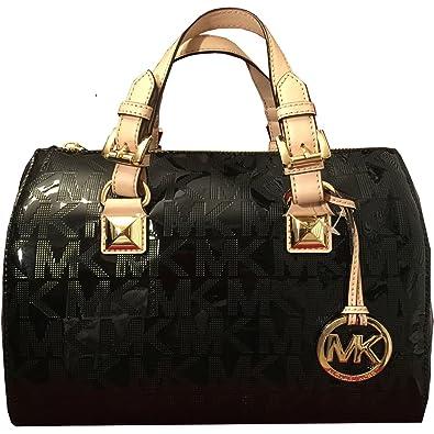 5ca85f37dce3 MICHAEL Michael Kors Womens Grayson Mirror Metallic Satchel Handbag Black  Medium  Handbags  Amazon.com
