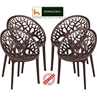 HOMEGENIC Nilkamal Polypropylene Chairs (Brown, Standard Size) - Set of 4