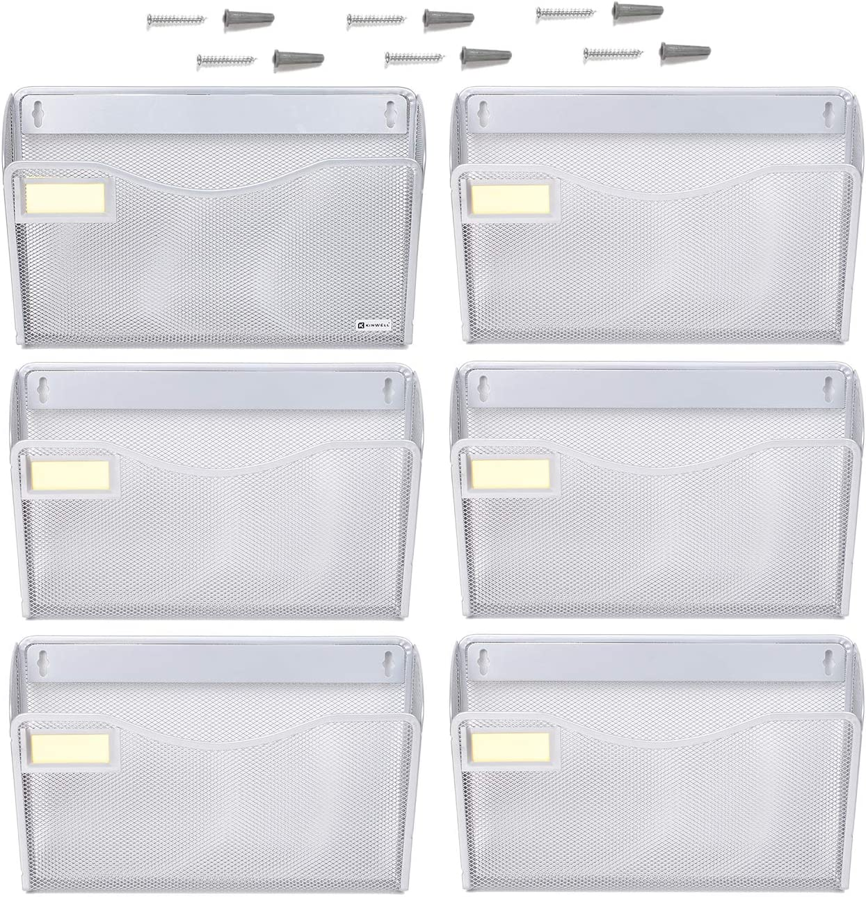 6 Pack Office Hanging Mesh Letter-Size Wall File Holder Organizer with Tag Slot Single Vertical Collection Pocket Set Multi-Purpose Organizer Display Magazines Mail Sorter & Magazine Rack (Silver)