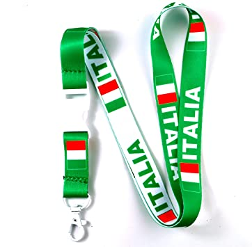 Italy Italian Italia Flag Lanyard ID Card Holder Necklace Key Chain for Keychains Neck Straps Phones Accessories
