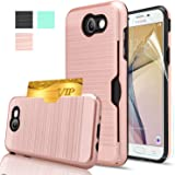 Galaxy J7 V Case, Galaxy J7 Sky Pro / J7 Perx /J7 Prime/Halo Case With HD Screen Protector,AnoKe[Card Slots Holder] Kickstand Plastic TPU Hybrid Wallet Case For Samsung J7 2017 KC2 Rose Gold