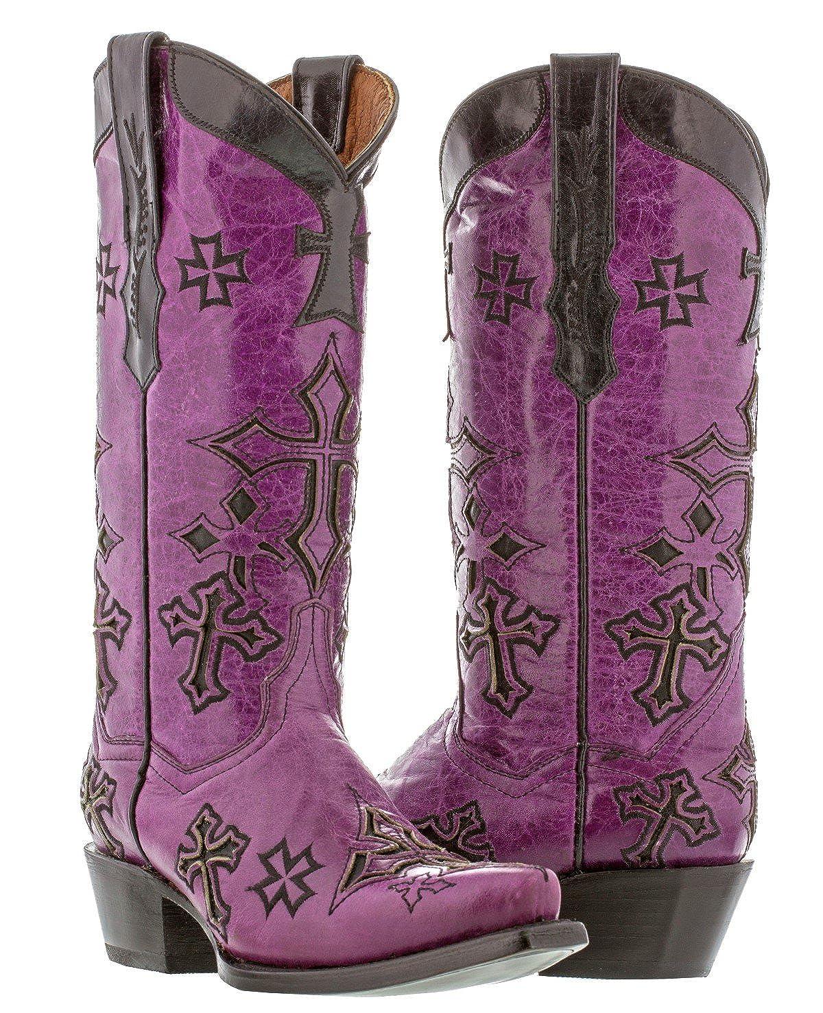 [Cowboy Professional] カウボーイプロフェッショナルレザー – 女性用パープルクロスオーバーレイカウボーイブーツSnip Toe 7 BM パープル B0164QRHQI