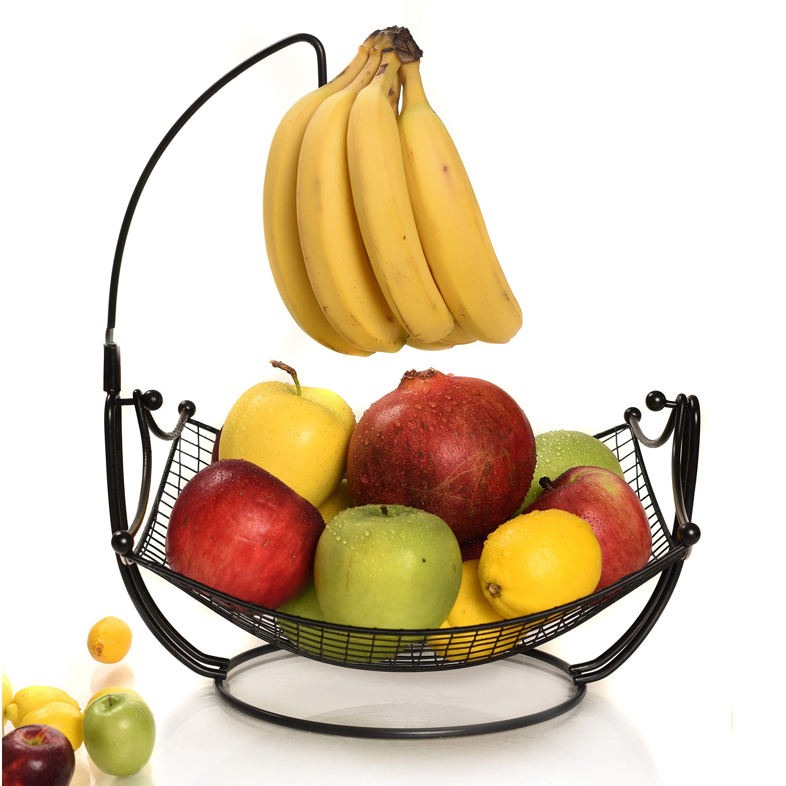 Fruit Basket + Detachable Banana holder, Elegant Fruit Bowl with Banana Tree Hanger, Black or Chrome for the classic look (black)