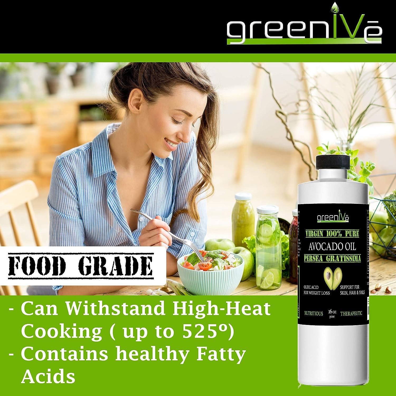 GreenIVe - Avocado Oil - 100% Pure Avocado Oil - Cold Pressed - Virgin - Exclusively on Amazon (32 Ounce)
