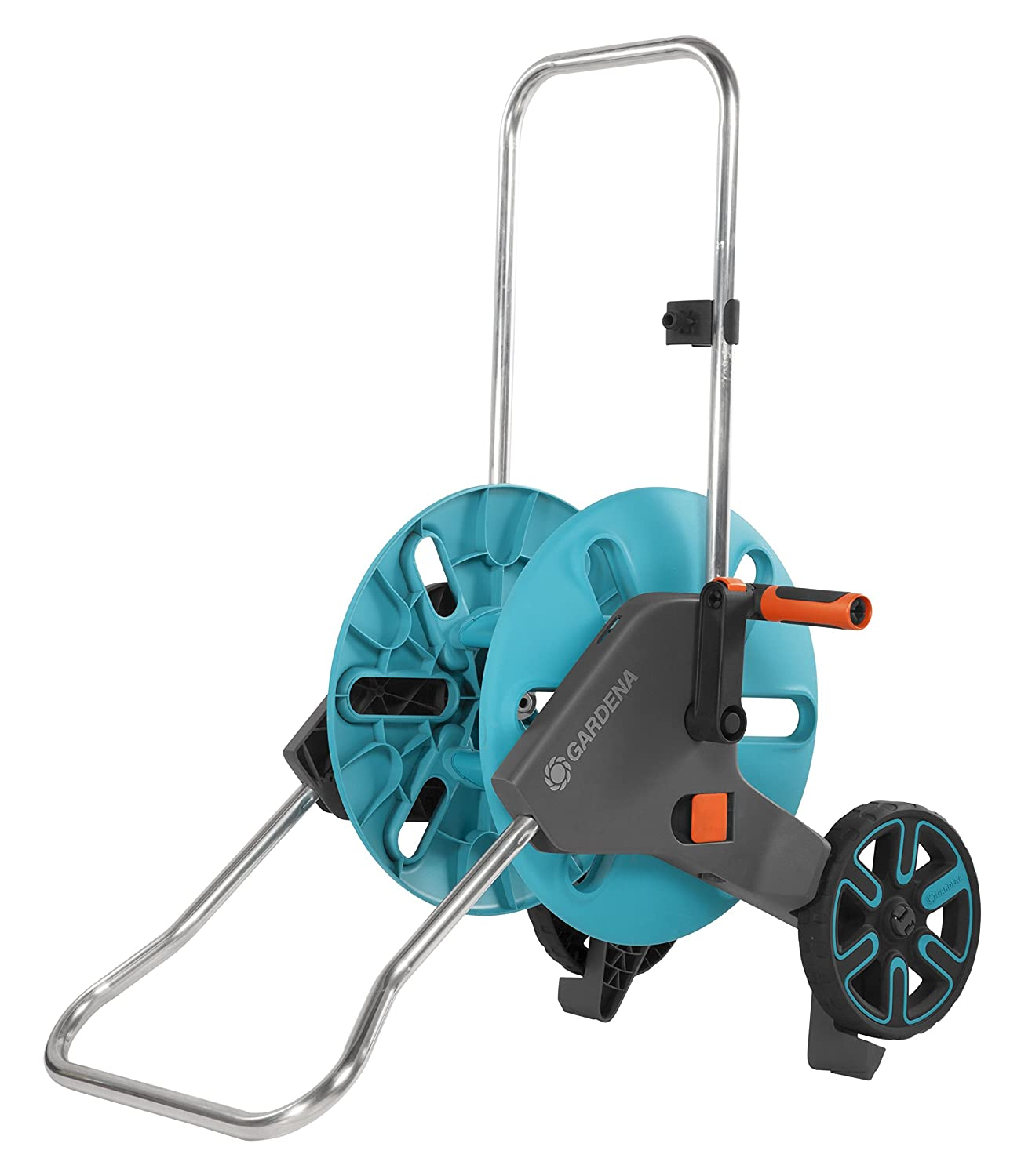 GARDENA Metal Hose Trolley 60: Mobile hose reel with up to 60 m capacity (given 13 mm hose); height-adjustable handle with hand protection, anti-drip device, free-running crank handle (2681-20) 2681-U