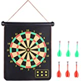 Roll-up Magnetic Dart Board Set, Rabosky Fabric Double Sided Hanging Rubber DartBoard with 6PCS Dart Flights