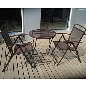 Great 3 Piece Bistro Patio Set Table And Chairs Outdoor Wrought Iron CAFE Set  METAL COFFEE