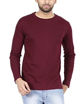 5a5d6873 FLEXIMAA Men's Cotton Plain Round Neck Full Sleeve T-Shirt Maroon Color.:  Amazon.in: Clothing & Accessories