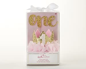 Kate Aspen, Gold Glitter 1st Birthday Décor Kit, Baby Birthday Set, Banner