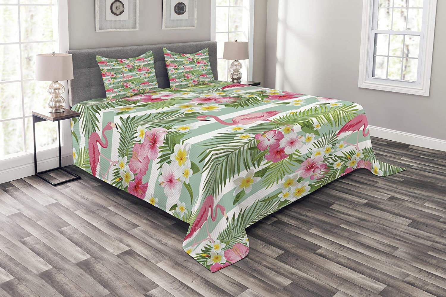 Ambesonne Flamingo Bedspread, Flamingos with Exotic Hawaiian Leaves Flowers on Striped Vintage Background, Decorative Quilted 3 Piece Coverlet Set with 2 Pillow Shams, Queen Size, Green Pink
