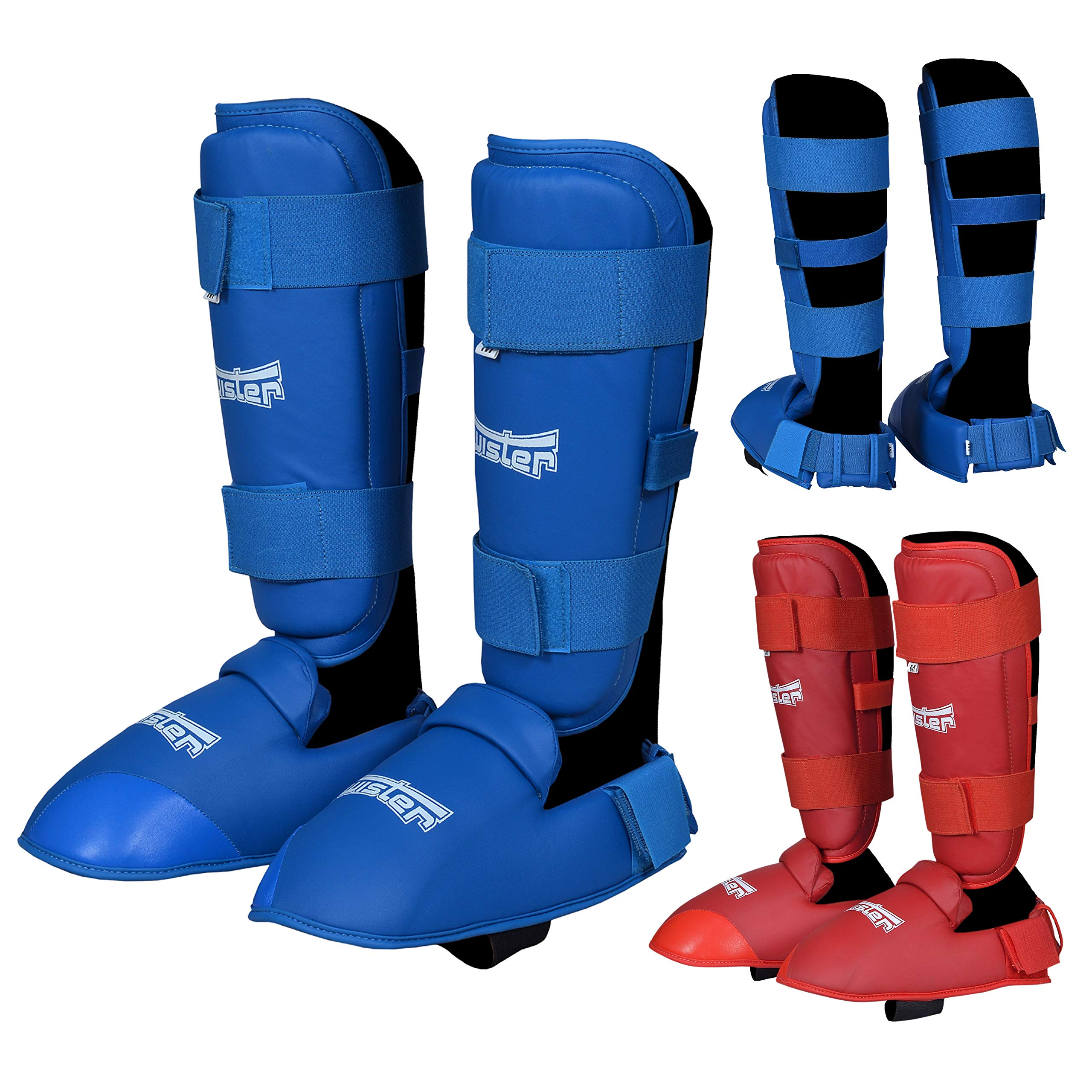 Twister Muay Thai, Boxing, Kickboxing,Karate, Taekwondo, MMA Shin & Instep Padded Guards, Shin in Steps, Shin Guards, Different Sizes (Pair) (Blue, S) by TWISTER FIGHT WEAR