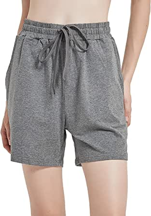 "Dovio Women's 5"" Casual Jersey Cotton Shorts Lounge Yoga Pajama Walking Shorts with Pockets Activewear"