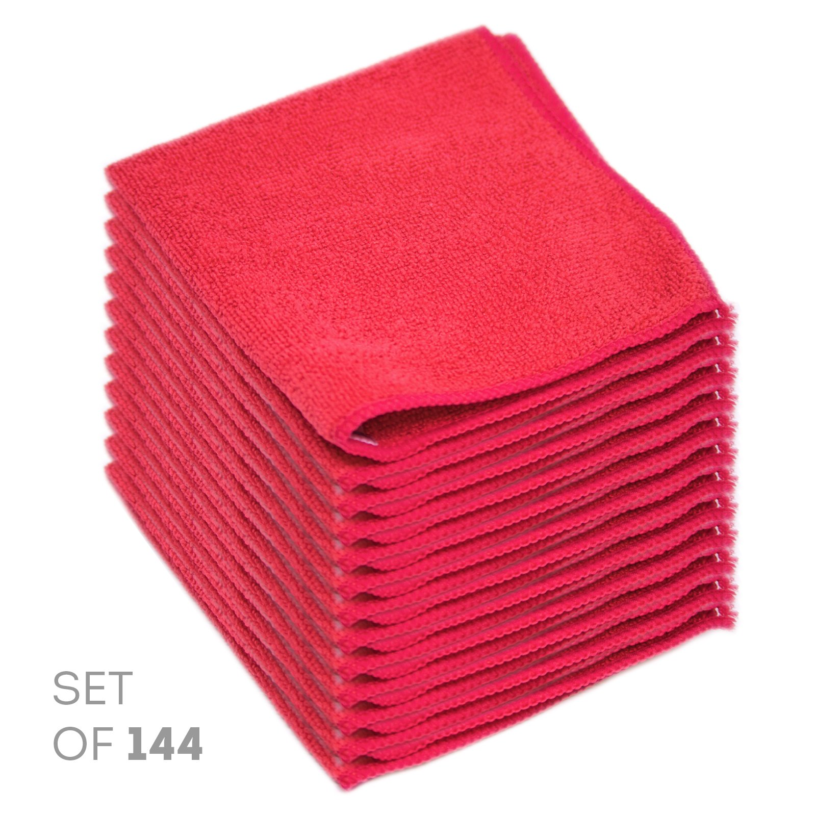 Super Soft Microfiber Cleaning Cloth - Set of 144 Red Washcloths - 12 x 12 Inches - By Etienne Alair
