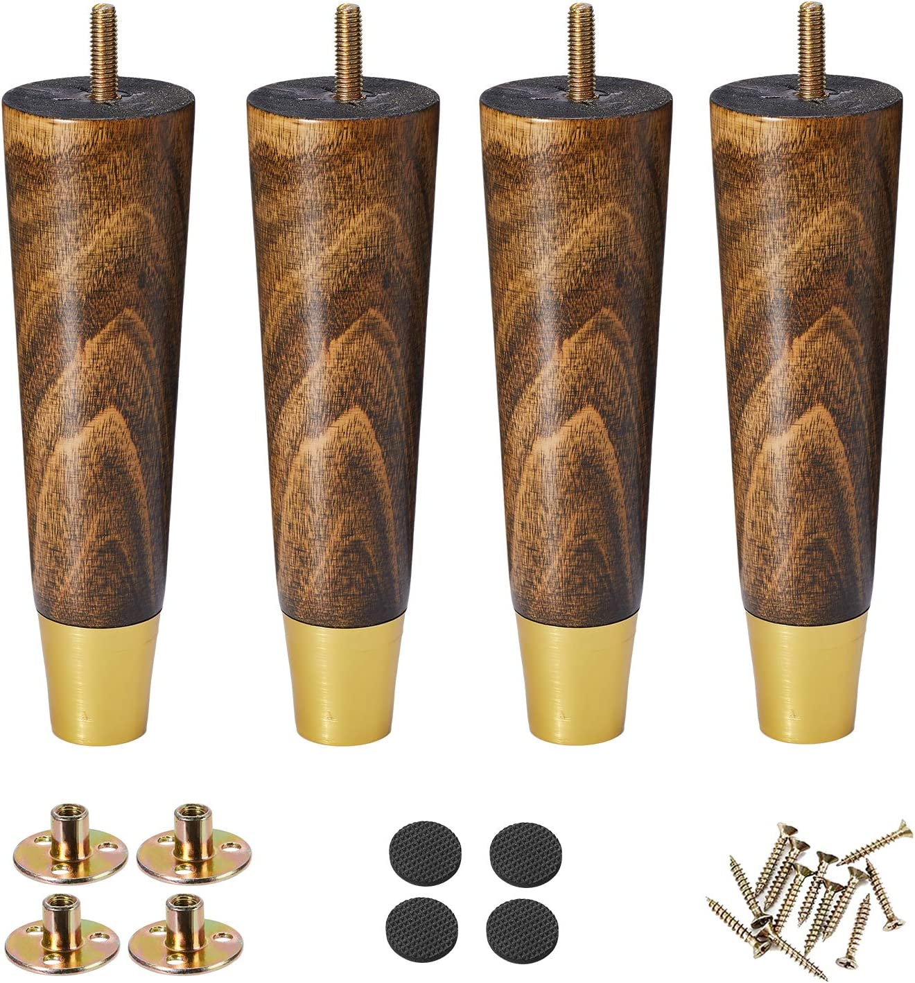 Wood Furniture Legs 6 inch Couch Legs,Pack of 4 Round Couch Legs, Mid Century Desk Legs Espresso, Replacement Legs for Couch for Dresser Legs Sideboard Recliner Couch Circle Chair Couch Riser