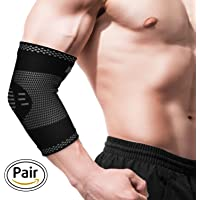 Elbow Brace Compression Arm Support - Sleeve for Tendonitis - Arthritis - Best for Tennis Elbow - Golf - Weightlifting - Women - Men - Kids -Pair