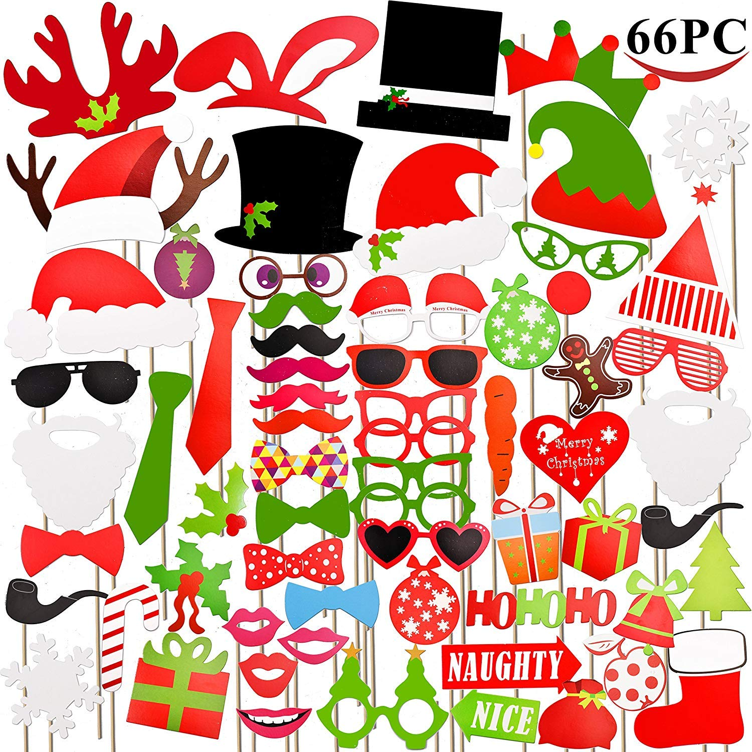 PeeNoke Toy 66 Pieces Christmas Photo Booth Props for Christmas Event Party Favors and Christmas Decorations Art Crafts.