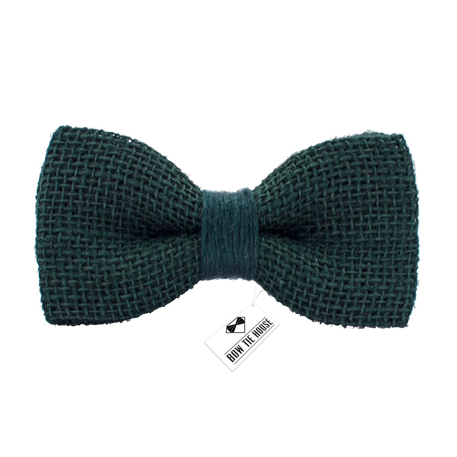 Bow Tie House Rustic Pre-Tied Bow Tie in 100/% Burlap Hessian Small, Dark Red